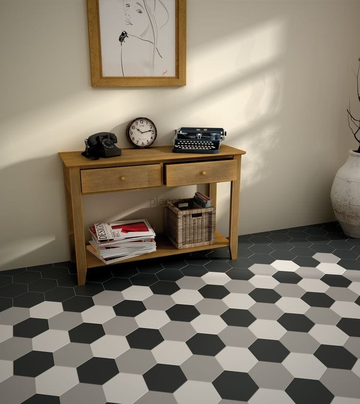Equipe hexatile gris mate 17 5x20 planeta dom for Carrelage hexagonal noir
